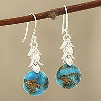 Composite turquoise dangle earrings, 'Dancing Fruit' - Round Composite Turquoise Dangle Earrings from India