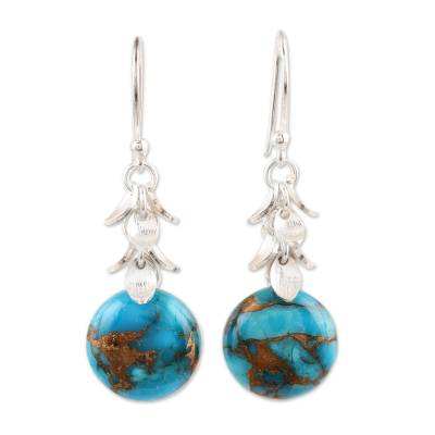 Round Composite Turquoise Dangle Earrings from India