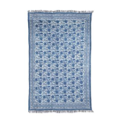 Cotton area rug, 'Azure Garden' (4x6) - Garden Motif Cotton Area Rug in Azure from India (4x6)