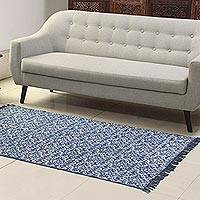 Cotton area rug, 'Azure Majesty' (3.5x6) - Vine Motif Cotton Area Rug from India (4x6)