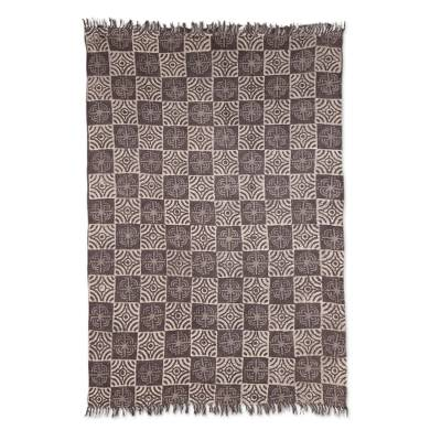 Cotton area rug, 'Creative Blossoms' (4x6) - Espresso Floral Motif Cotton Area Rug from India (4x6)
