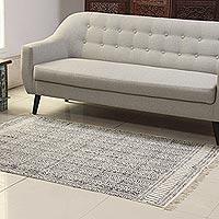 Cotton area rug, 'Maze Flair' (4x6)