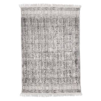 Cotton area rug, 'Maze Flair' (4x6) - Maze Motif Cotton Area Rug in Espresso from India (4x6)