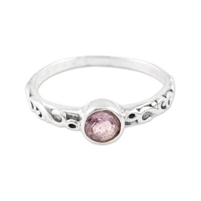 Sparkling Amethyst Solitaire Ring from India
