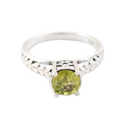 Faceted Peridot Solitaire Ring from India