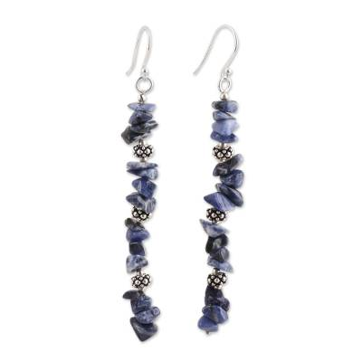 Sodalite Beaded Dangle Earrings Crafted in India