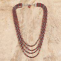 Carnelian and hematite beaded strand necklace, 'Red-Orange Orbs' - Carnelian and Hematite Beaded Strand Necklace from India