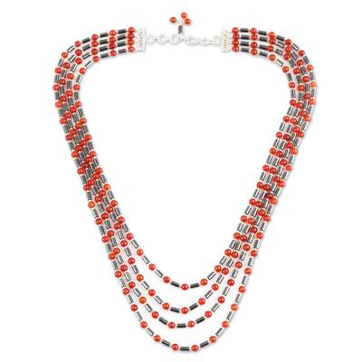 Carnelian and Hematite Beaded Strand Necklace from India