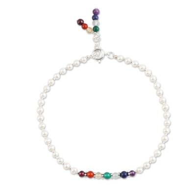 Multi-gemstone beaded anklet, 'Chakra Orbs' - Multi-Gemstone Beaded Chakra Anklet from India