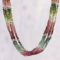 Tourmaline beaded strand necklace, 'Jazzy Night' - Tourmaline Beaded Strand Necklace from India