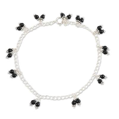 Black Onyx Charm Anklet Crafted in India