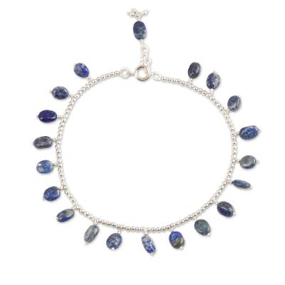Sodalite charm anklet, 'Dancing Ovals' - Sodalite Charm Anklet Crafted in India