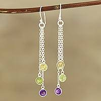 Multi-gemstone dangle earrings, 'Sparkling Dance' - 4.5-Carat Multi-Gemstone Dangle Earrings from India