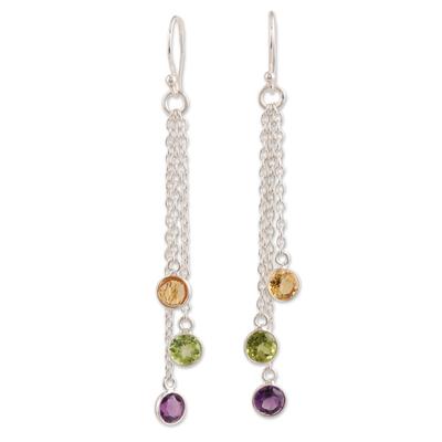 Multi-gemstone dangle earrings, 'Sparkling Dance' - 4.5-Carat Multi-Gemstone Dangle Earrings from India