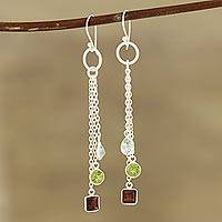 Multi-gemstone dangle earrings, 'Combined Sparkle' - 5.5-Carat Multi-Gemstone Dangle Earrings from India