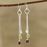 Multi-gemstone dangle earrings, 'Combined Sparkle'