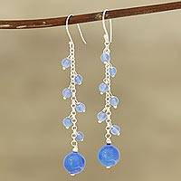 Chalcedony beaded dangle earrings, 'Orb Dance' - Blue Chalcedony Beaded Dangle Earrings Crafted in India