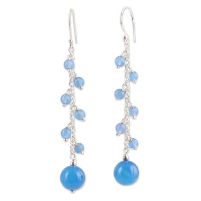Blue Chalcedony Beaded Dangle Earrings Crafted in India