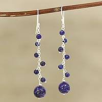 Lapis lazuli beaded dangle earrings, 'Orb Dance'