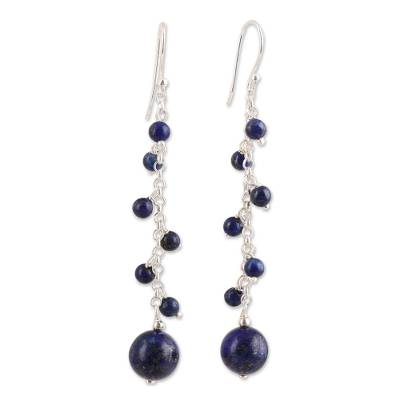 Lapis lazuli beaded dangle earrings, 'Orb Dance' - Lapis Lazuli Beaded Dangle Earrings Crafted in India