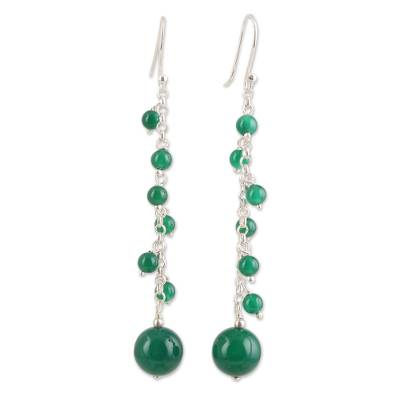 Green Onyx Beaded Dangle Earrings Crafted in India