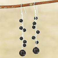 Onyx beaded dangle earrings, 'Orb Dance in Black' - Black Onyx Beaded Dangle Earrings Crafted in India