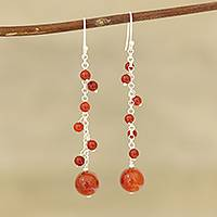 Onyx beaded dangle earrings, 'Orb Dance in Red-Orange' - Red-Orange Onyx Beaded Dangle Earrings Crafted in India