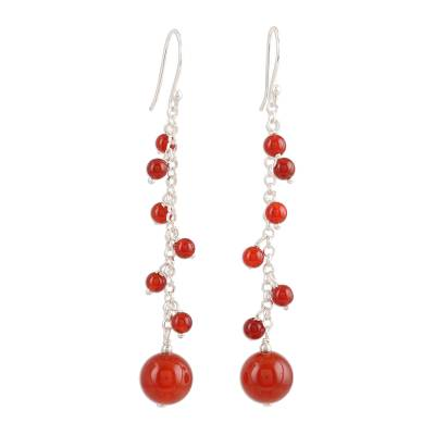 Red-Orange Onyx Beaded Dangle Earrings Crafted in India