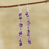 Amethyst beaded dangle earrings, 'Gemstone Glimmer' - Amethyst Beaded Dangle Earrings Crafted in India