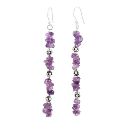 Amethyst beaded dangle earrings, 'Gemstone Glimmer' - Amethyst Beaded Dangle Earrings Crafted in India
