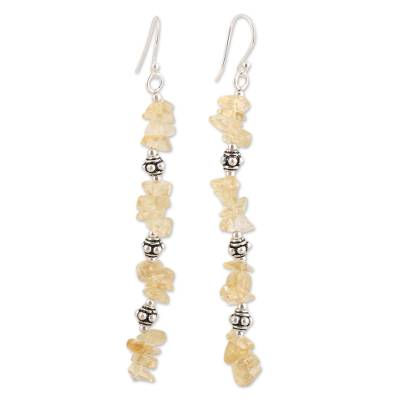 Citrine Beaded Dangle Earrings Crafted in India