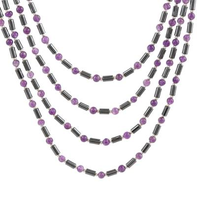Amethyst and Hematite Beaded Strand Necklace from India