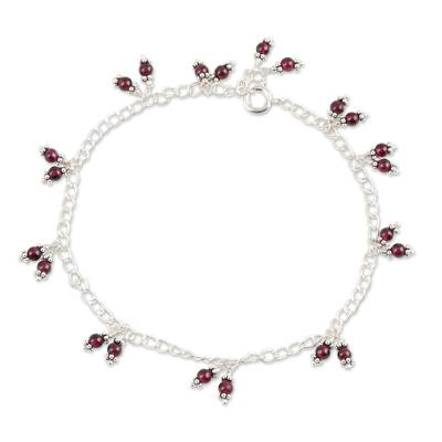 Natural Garnet Charm Anklet from India