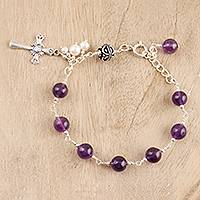 Amethyst and cultured pearl link bracelet, 'Faithful Purity' - Amethyst and Cultured Pearl Cross Bracelet from India