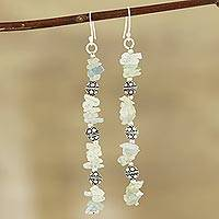 Aquamarine beaded dangle earrings, 'Gemstone Mist'