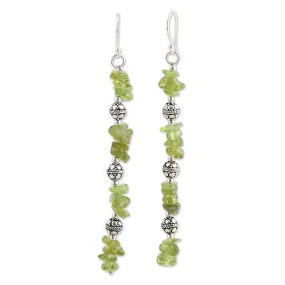 Peridot beaded dangle earrings, 'Gemstone Mist' - Peridot Beaded Dangle Earrings Crafted in India