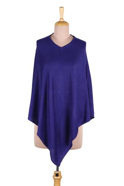 Wool poncho, 'Cobalt Blue Warmth' - Indian Cashmere Wool Knitted Cobalt Blue Poncho