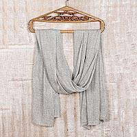 Wool shawl, 'Neutral Grey Allure' - Soft Indian Cashmere Wool Woven Grey Shawl