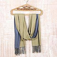 Reversible wool shawl, 'Dual Delight' - Reversible Indian Cashmere Wool Blue and Green Shawl