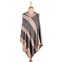 Wool poncho, 'Luxurious Stripes' - Stripe Pattern Knit Wool Poncho from India