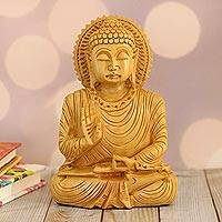 Wood sculpture, 'Buddha's Serenity' - Hand-Carved Kadam Wood Buddha Sculpture from India