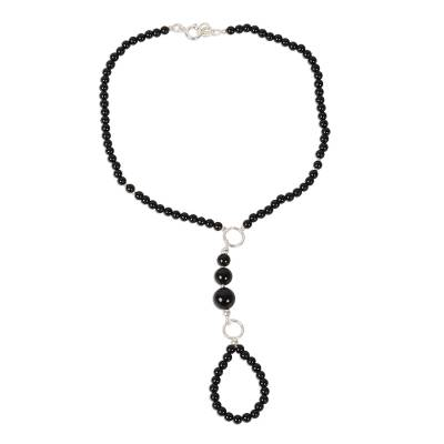 Black Onyx Beaded Harem Anklet from India
