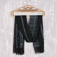 Wool shawl, 'Midnight Delight' - Tri-Tone Dark Wool Shawl Woven in India