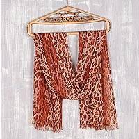 Wool shawl, 'Cheetah Elegance' - Cheetah Print Wool Shawl from India