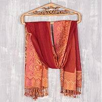 Jamawar wool shawl, 'Paisley Glam' - Paisley Pattern Jamawar Wool Shawl from India