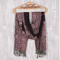 Jamawar wool shawl, 'Mughal Paisleys' - Mughal-Style Jamawar Wool Shawl in Purple from India