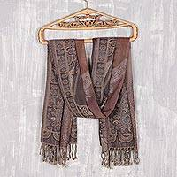 Jamawar wool shawl, 'Blissful Garden' - Paisley Jamawar Wool Shawl Woven in India