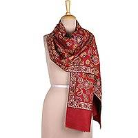 Wool shawl, 'Floral Magic in Claret' - Floral Wool Shawl in Crimson from India