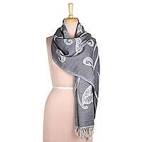 Reversible Jamawar wool scarf, 'Subtle Garden in Grey-Blue' - Reversible Leaf Motif Jamawar Wool Scarf in Grey-Blue