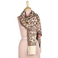 Wool shawl, 'Floral Magic in Ivory' - Floral Wool Shawl in Ivory from India